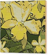 Yellow Orchids Woodcut Wood Print