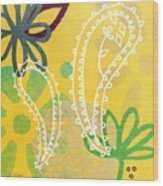 Yellow Paisley Garden Wood Print