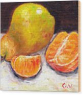 Yellow Pear With Tangerine Slices Grace Venditti Montreal Art Wood Print