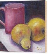 Yellow Pears And Mug Stll Life Grace Venditti  Wood Print
