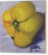 Yellow Pepper On Linen Wood Print