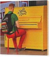 Yellow Piano Wood Print