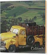Yellow Pick-up Truck Wood Print