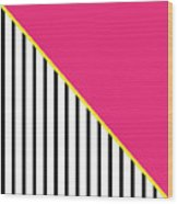 Yellow Pink And Black Geometric 2 Wood Print