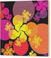 Yellow Pink Red Orbs Wood Print