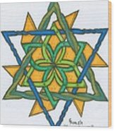 Yellow Pinnwheel Wood Print