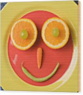Yellow Plate With Food Face Wood Print