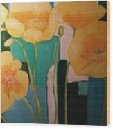 Yellow Poppies On Blue Wood Print