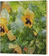 Yellow Pretty Little Flowers Wood Print