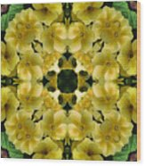 Yellow Primrose Kaleidoscope Wood Print