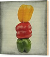 Yellow Red And Green Bell Pepper Wood Print