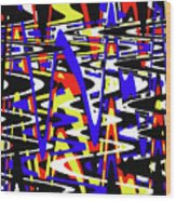 Yellow Red Blue Black And White Abstract Wood Print