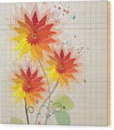 Yellow Red Floral Illustration Wood Print