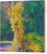 Yellow Reflections Wood Print