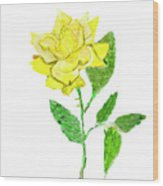 Yellow Rose, Painting Wood Print