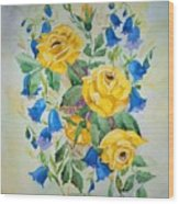 Yellow Roses And Blue Bells Wood Print