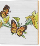Yellow Roses And Monarch Butterflies Wood Print