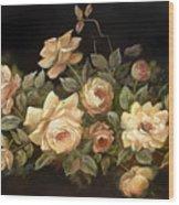 Yellow Roses On Black  Wood Print