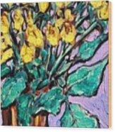 Yellow Roses Wood Print by Sheila Tajima