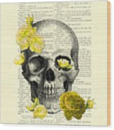 Skull With Yellow Roses Dictionary Art Print Wood Print