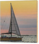 Yellow Sailboat At Sunrise Wood Print