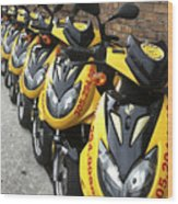 Yellow Scooters Wood Print