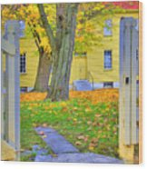 Yellow Shaker House Gate Wood Print