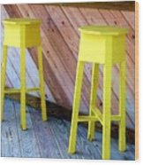 Yellow Stools Wood Print