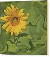Yellow Sunflower On Green Background Wood Print