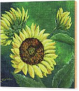 Yellow Sunflowers On Green Wood Print