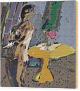 Yellow Table II Wood Print