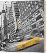 Yellow Taxi Nyc Wood Print