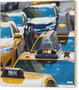 Yellow Taxis Wood Print