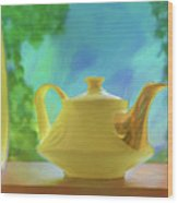 Yellow Teapot And Bowl Wood Print