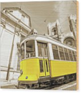 yellow tram Lisbon Wood Print