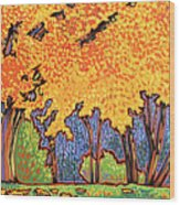 Yellow Tree Wood Print by Nadi Spencer