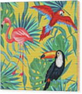 Yellow Tropic  Wood Print
