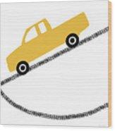 Yellow Truck On Road- Art By Linda Woods Wood Print