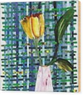 Yellow Tulip In A Pink Vase Wood Print