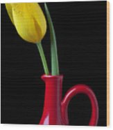 Yellow Tulip In Red Pitcher Wood Print