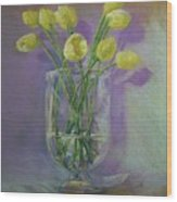 Yellow Tulips In A Glass Wood Print