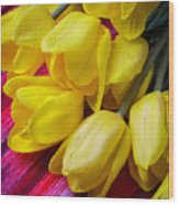 Yellow Tulips With Dew Drops Wood Print