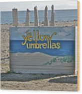 Yellow Umbrellas Wood Print