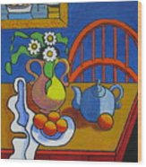 Yellow Vase With Blue Teapot Wood Print