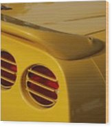 Yellow Vette Lights Wood Print