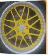 Yellow Vette Wheel Wood Print