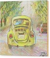 Yellow Vw Wood Print