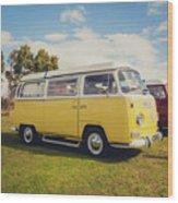 Yellow Vw T2 Camper Van 02 Wood Print