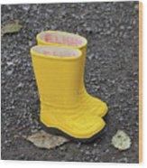 Yellow Wellies Wood Print