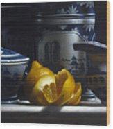 Yellow White Blue Wood Print